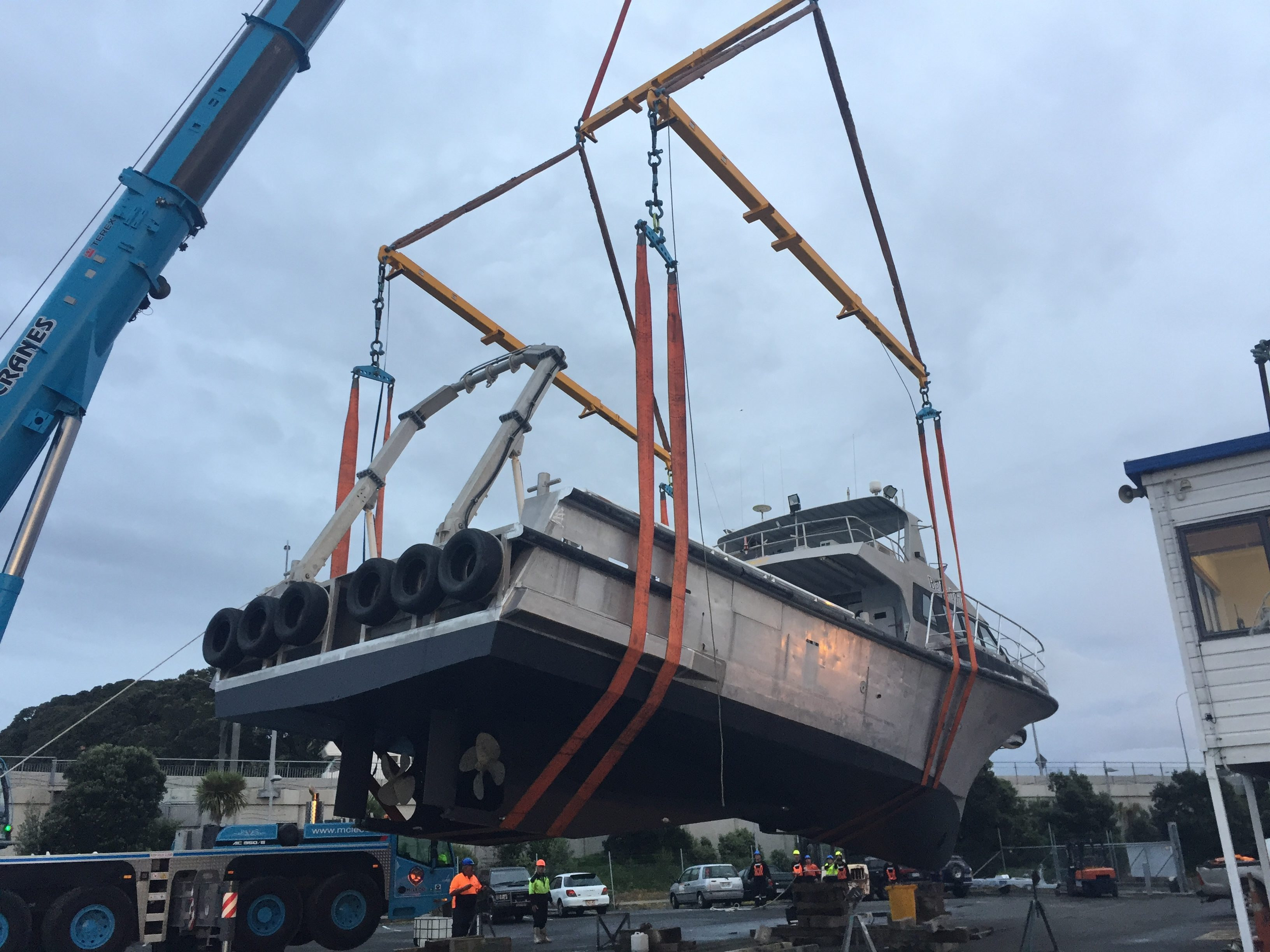 workboat is lifted with a crane
