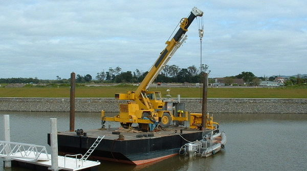 workboat with crane on it