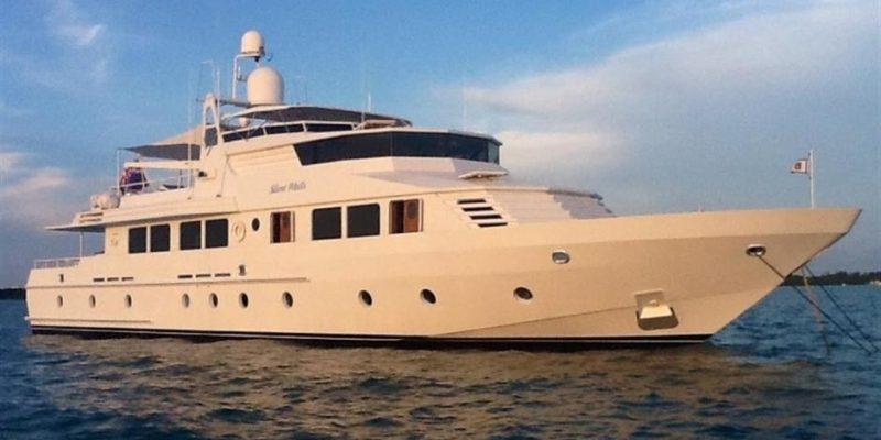 white luxury workboat side view