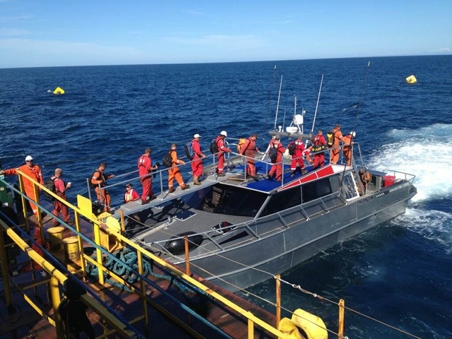stable allow workboat crew transfer at sea