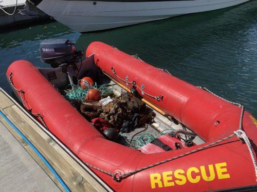 red rescue zodiac boat