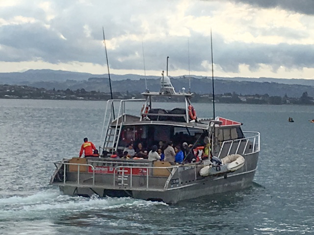 alloy workboat out at sea