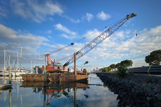 Pacific7 Barge Marine Piling Specialists New Zealand